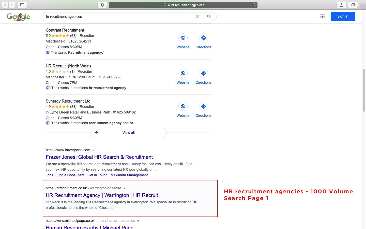 HR recruitment agencies 1000 Volume Search Page 1