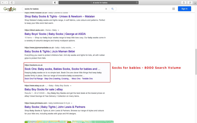 Socks for Babies google result